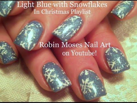 easy winter white snowflake nails