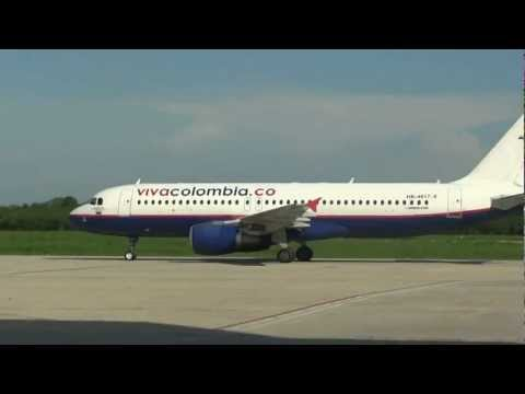 VIVA Colombia- Airbus A320 Taxing at Ernesto Cortissoz Intl' Airport, Barranquilla, Colombia HD