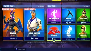 Yup, WORST Item Shop jamais ... Fortnite ITEM SHOp [2 octobre] RAVAGE SKIN RETURNS - Sushi Master 🍣