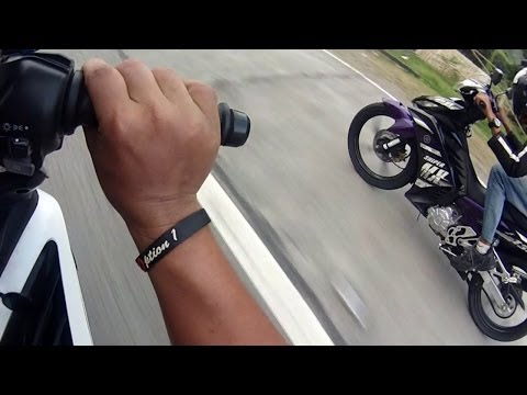 Drag race Yamaha LC135 John vs Marvin Jupiter MX Friendly Gauge