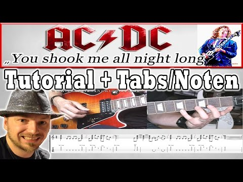 � - YOU SHOOK ME ALL NIGHT LONG Gitarren Tutorial/Lesson + Tabs/Chords