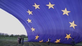 The largest European Union kite/flag flight in Doneck oblast