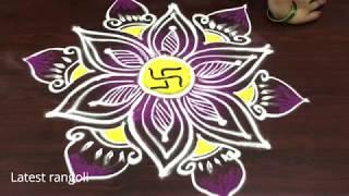 latest rangoli design sravanamasam special || freehand kolam || creative rangoli designs