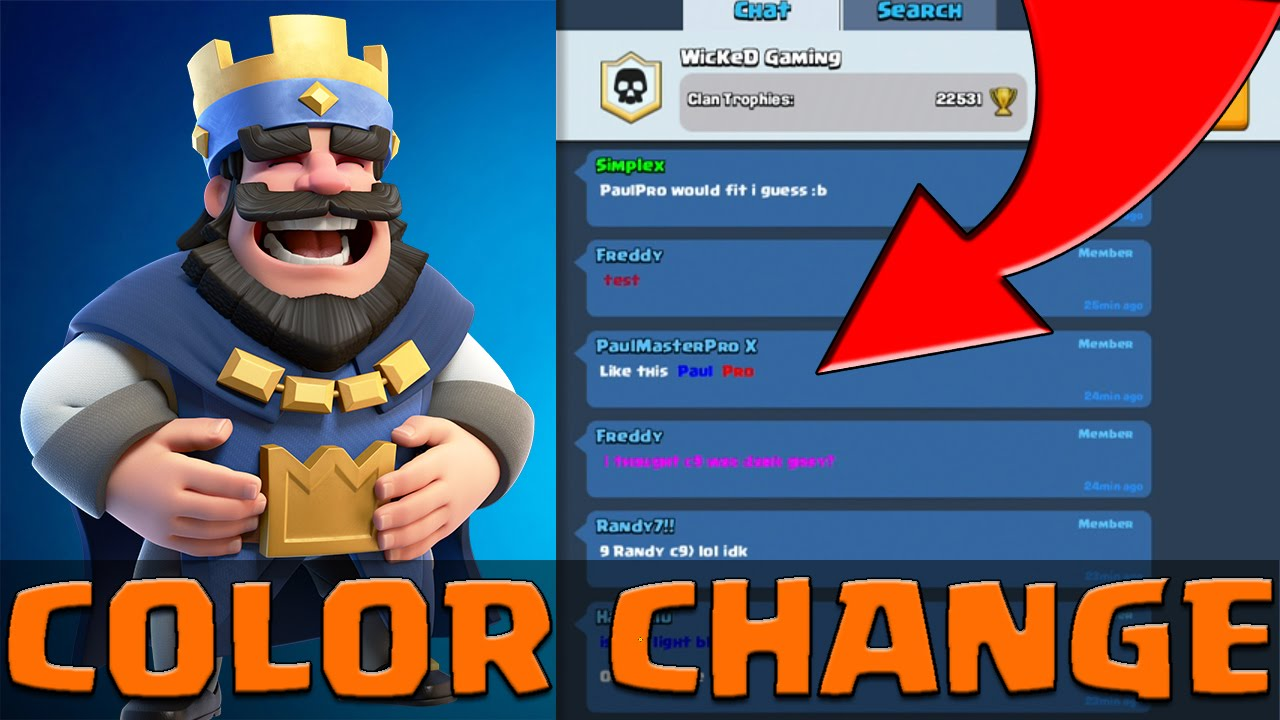 how to change color of name in clash royale