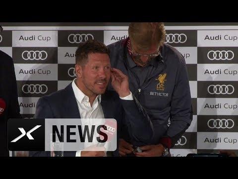 Jürgen Klopp bügelt Diego Simeones Tonprobleme aus | / Audi Cup | FC Liverpool | Atletico Madrid
