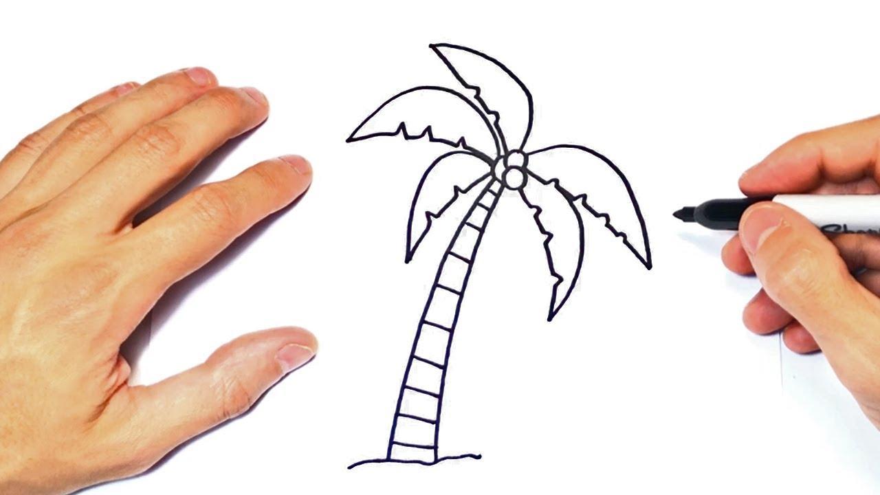 Cómo dibujar una Palmera | Dibujo Fácil de Palmera - YouTube