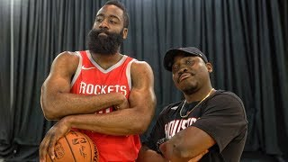 QJB vs JAMES HARDEN @ NBA LIVE 18 COVER ATHLETE PHOTOSHOOT!
