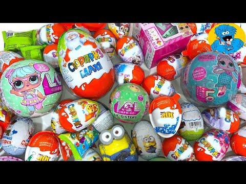 Киндер Сюрпризы,Много Шаров LOL Surprise Дисней Тачки,Unboxing Kinder Surprise,Giant Egg Maxi