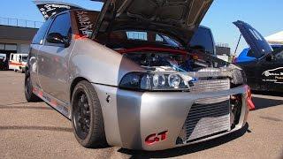 Fiat Punto GT Turbo 500Hp [Fata Turbina] Drag Racing  - insane engine and camera board on track!