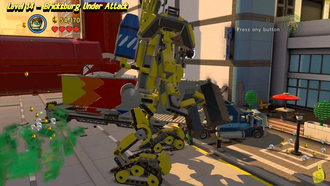 The Lego Movie Videogame: Level 14 Bricksburg Under Attack - FREE PLAY - (Pants & Gold Manuals)-