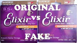 Elixir strings Original vs Fake Elixir Phosphor Bronze. Visible differences.