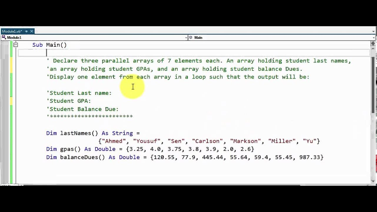 Visual Basic  Parallel Arrays  Assignment  Youtube