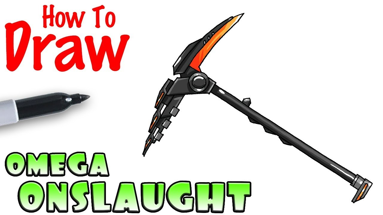 How To Draw Omega S Onslaught Pickaxe Fortnite Youtube