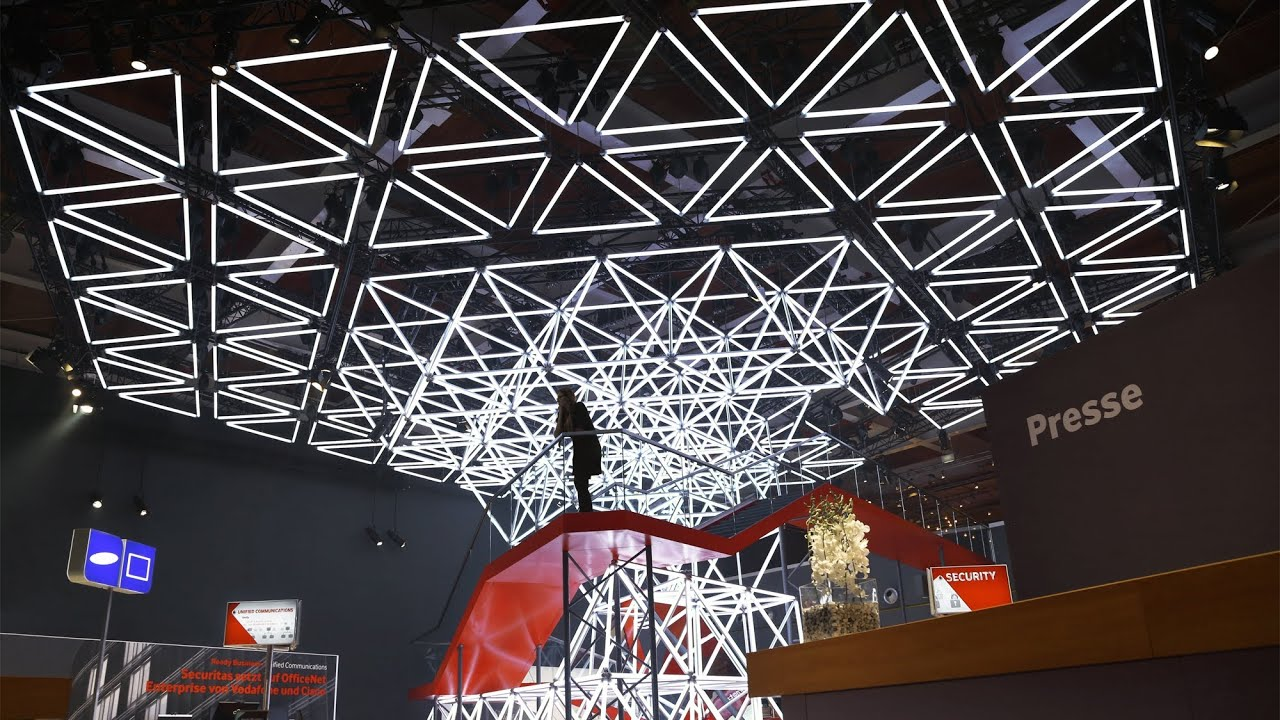 Whitevoid for vodafone cebit 2014 interior Led glow interior lights installation