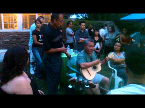Javier Vargas singing as we jam out...Instructors dinner, Albuquerque Mariachi Conference 2013
