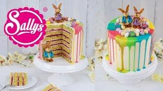 Drip Cake - Ostertorte mit bunten Regenbogenfarben und Schokoladen Häschen