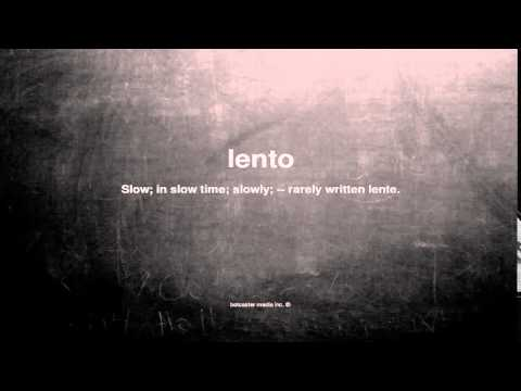 What does lento mean