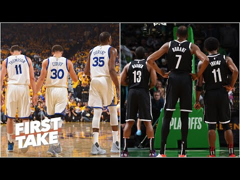 Steph, Klay and KD vs. KD, Harden and Kyrie: Which Big 3 would win? | First Take