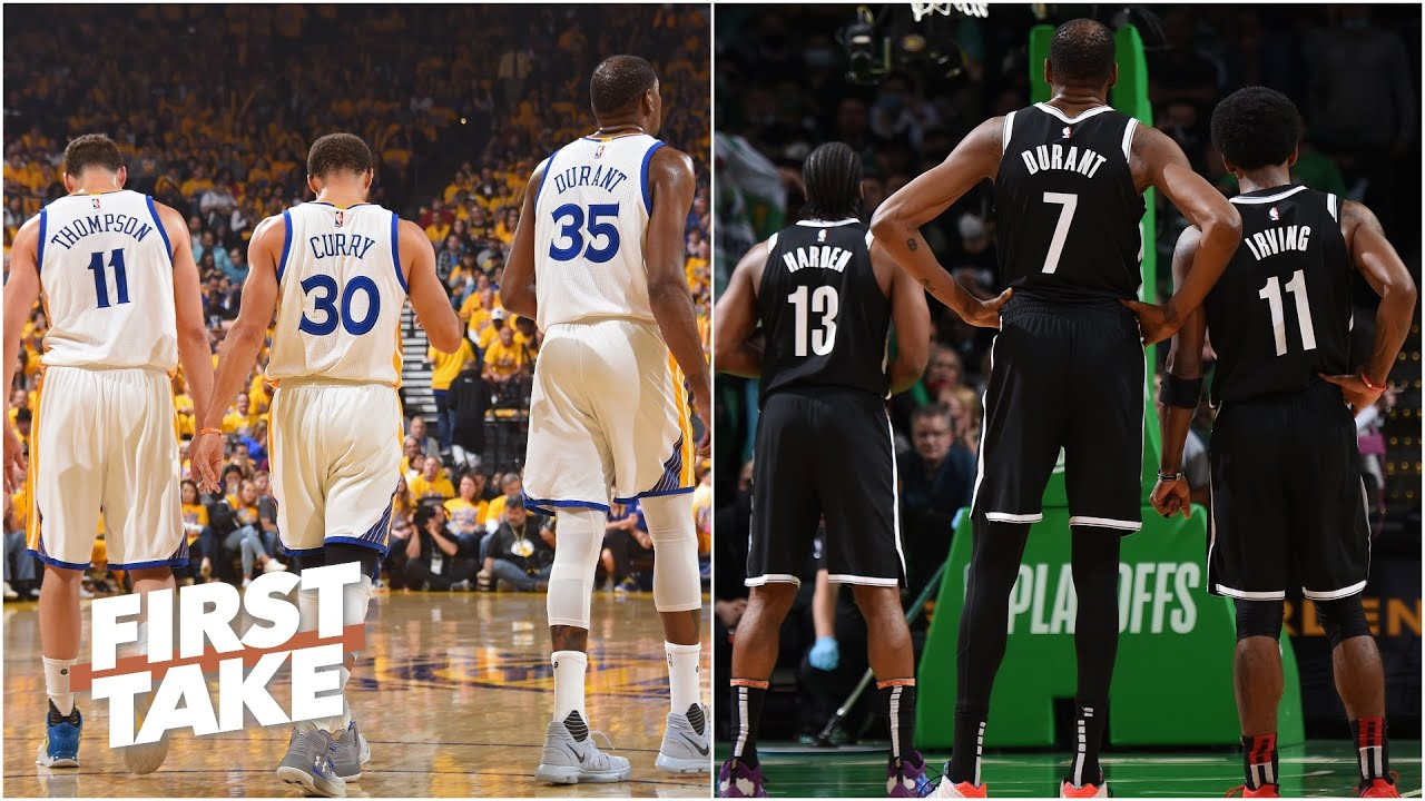 Download Steph, Klay and KD vs. KD, Harden and Kyrie: Which Big 3 would win? | First Take