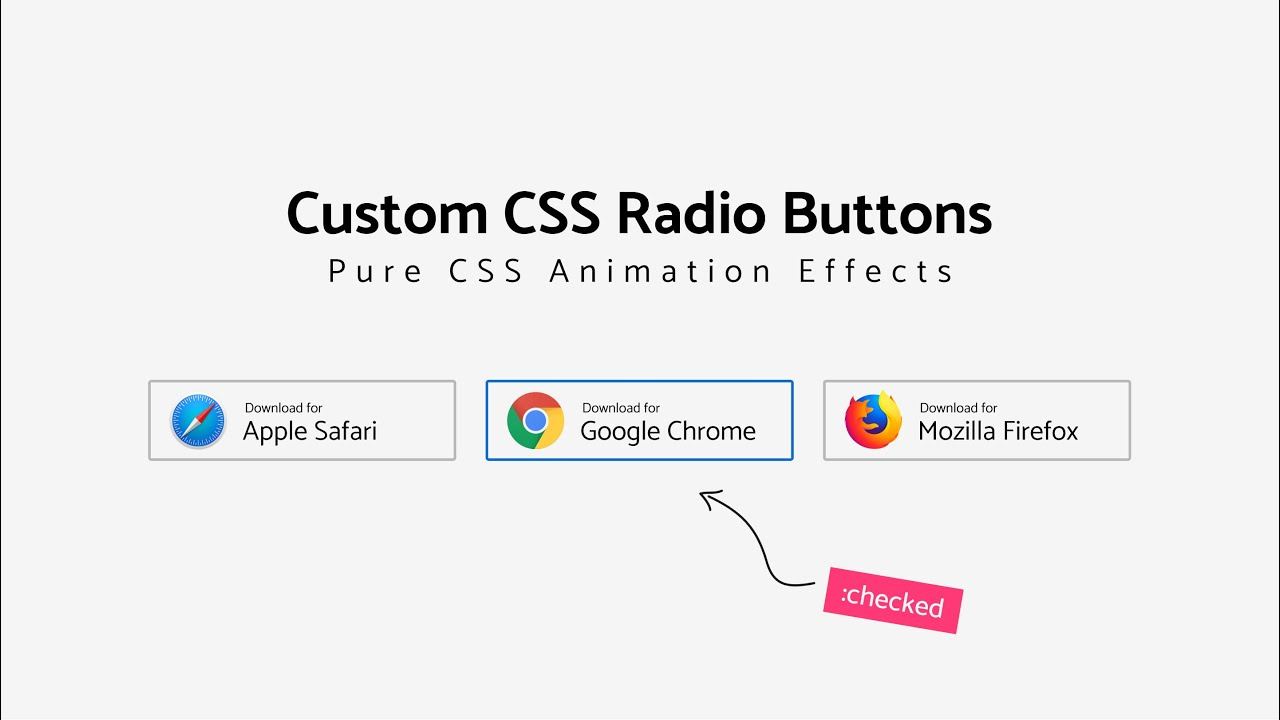 How To Create Custom Radio Buttons With Cool Animation Effects | Pure CSS Radio Buttons