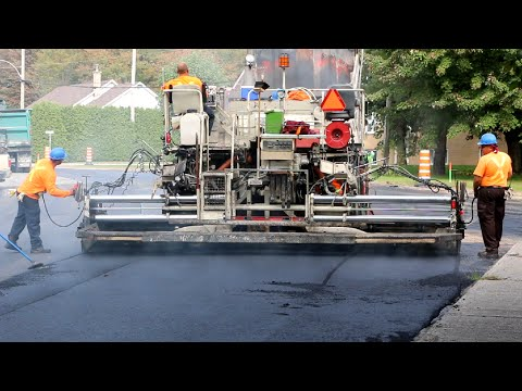 Road Work Heavy Equipment Asphalt Replacement Step by Step - YouTube