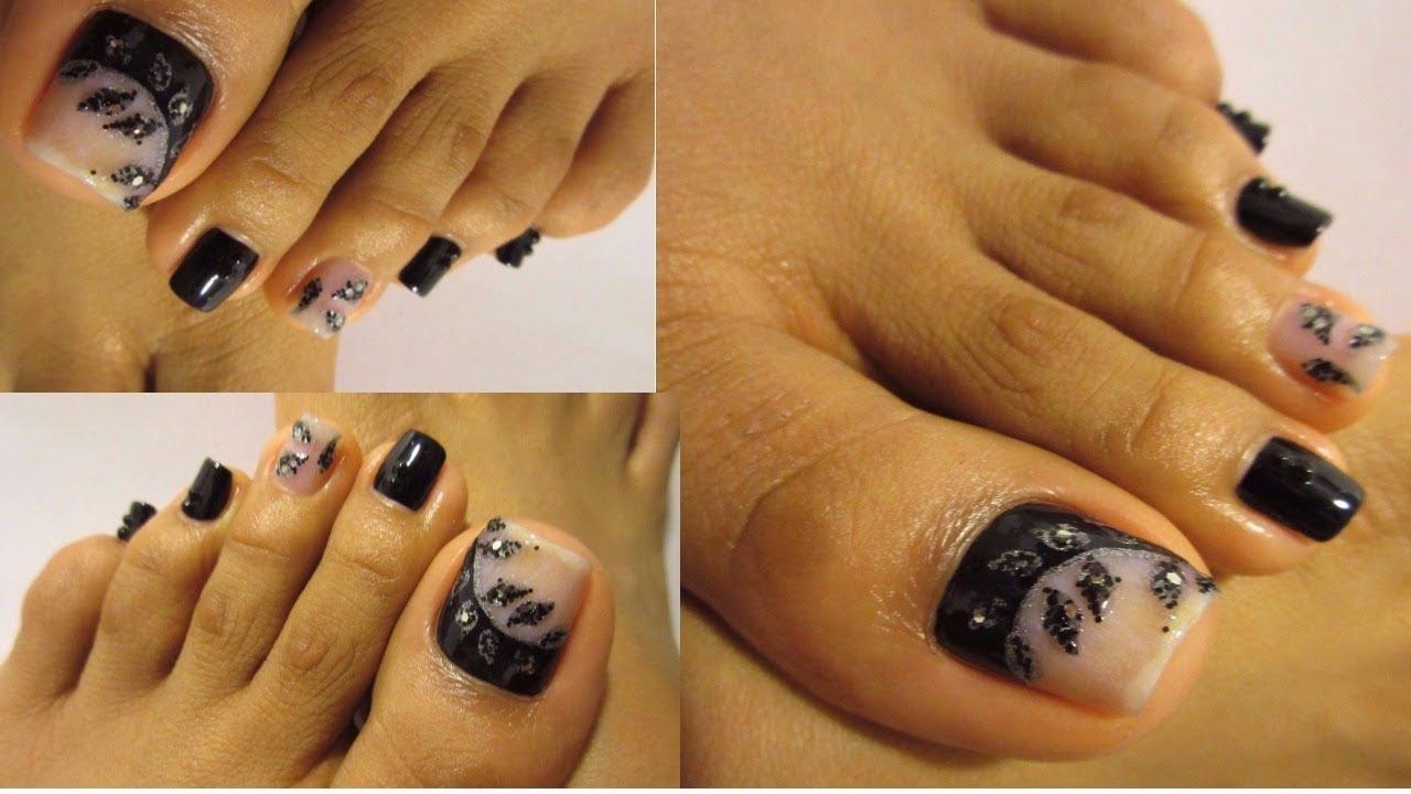 Unas Decoradas De Los Pies Con Negro Y Plata Pretty Design Black