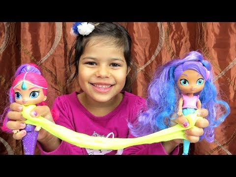 SHIMMER and SHINE play with gems and noise putty - balancing birds - jewel slime