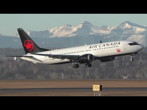 FIRST VISIT! Air Canada 737 MAX 8 [C-FSCY] Takeoff, Touch and Go (x2) at Calgary Airport