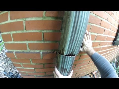 How To Clean and Repair Copper Downspout and the Underground Drain - by Apple Drains