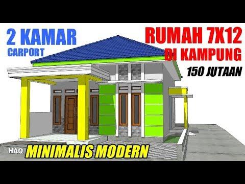 desain rumah di lahan 7x12 dengan 2 kamar tidur 1 wc dan