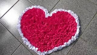Tapete de Coração feito com tiras de Retalho