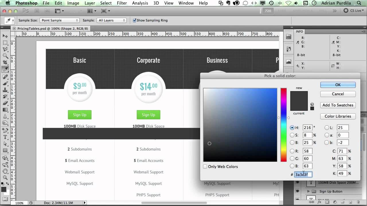 Design a Modern Pricing Table in Photoshop - YouTube
