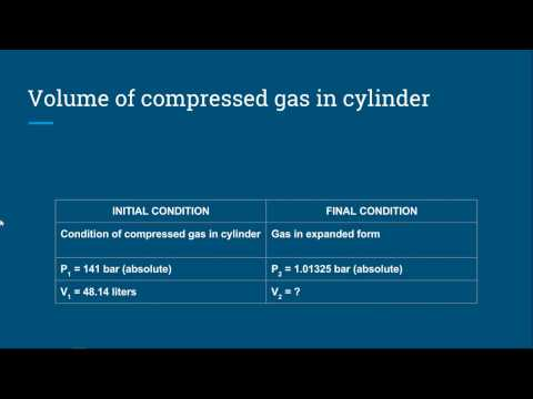 Volume Of  Compressed Gas In Cylinder