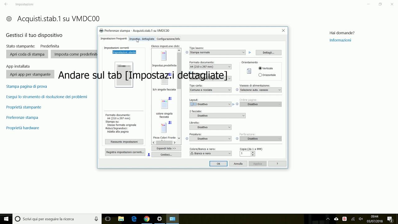 Ricoh impostare il PIN utente in Windows 10
