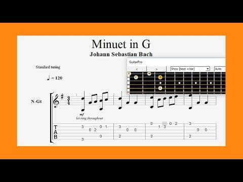 Minuet in G (J.S Bach 1685 - 1750) Classical Guitar Tab