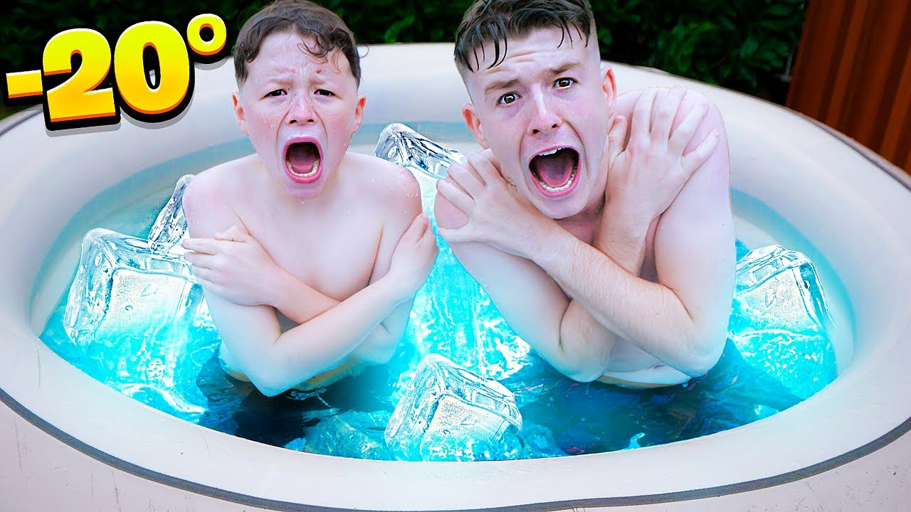 Last To Leave FROZEN HOT TUB Wins!! - CHALLENGE