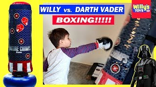 BOXING FIGHT - Willy VS. Darth Vader - Franklin Sports Inflatable Electronic Boxing Bag Toy Review