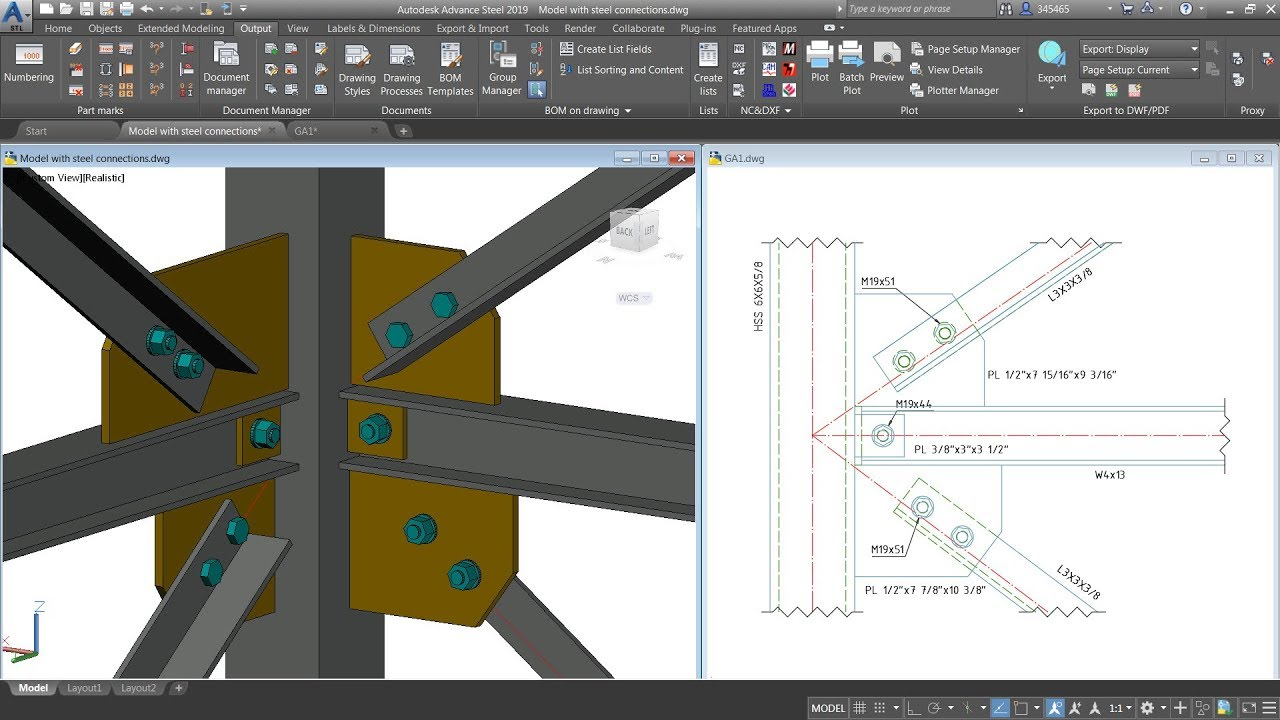 Advance Steel - Creating a drawing showing parts previously selected in the  3D model