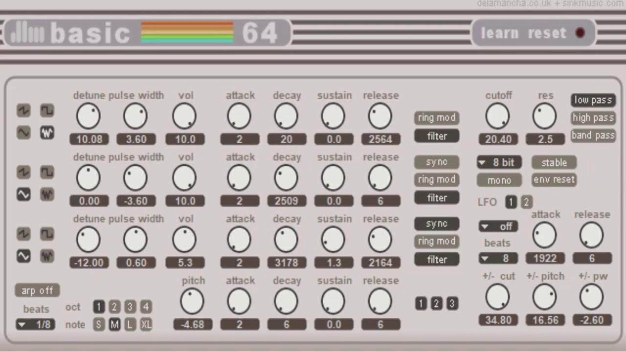 Download Free 8 bit chip sounds plug-in: basic 64 by de la