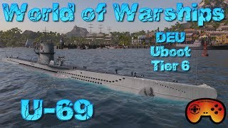 "Die ""U-69"" Deutsches Uboot T6 in World of Warships Submarine Gameplay Deutsch"