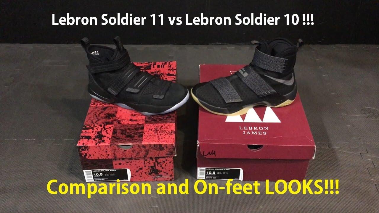 08803e0ff8e Nike Prototype Lebron James Soldier XI (11) vs Soldier X (10) - ON-FEET