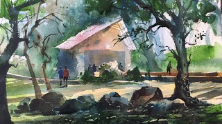 Watercolor Lesson - how to paint Watercolor on the spot by Prashant Sarkar in timelaps.