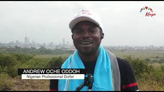 Nigerian golf pro Andrew Odoh at the Nairobi National Park.
