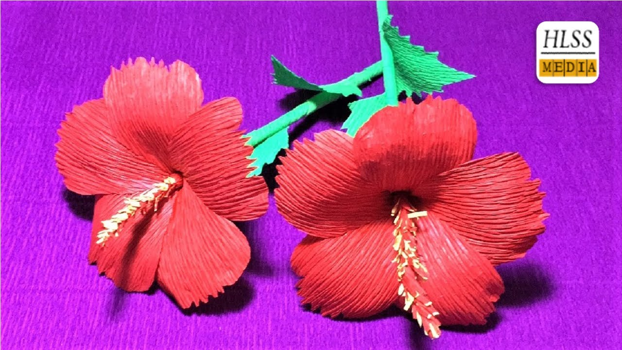 How to make hibiscus paper flower super easy way to make hibiscus how to make hibiscus paper flower super easy way to make hibiscus flower with crepe paper izmirmasajfo