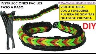 Repeat youtube video COMO HACER PULSERA DE GOMITAS QUADFISH CRUZADA (CROSS QUAD-FISH) CON 2 T...