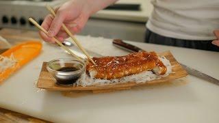 Нарезка сашими из лосося, угря, гребешка (+презентация ножей sakai)