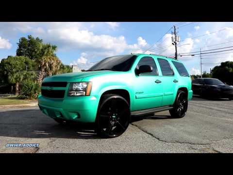 WhipAddict: Matte Emerald Wrapped 07' Chevrolet Tahoe on Blacked Out Style 37 Replica 28s