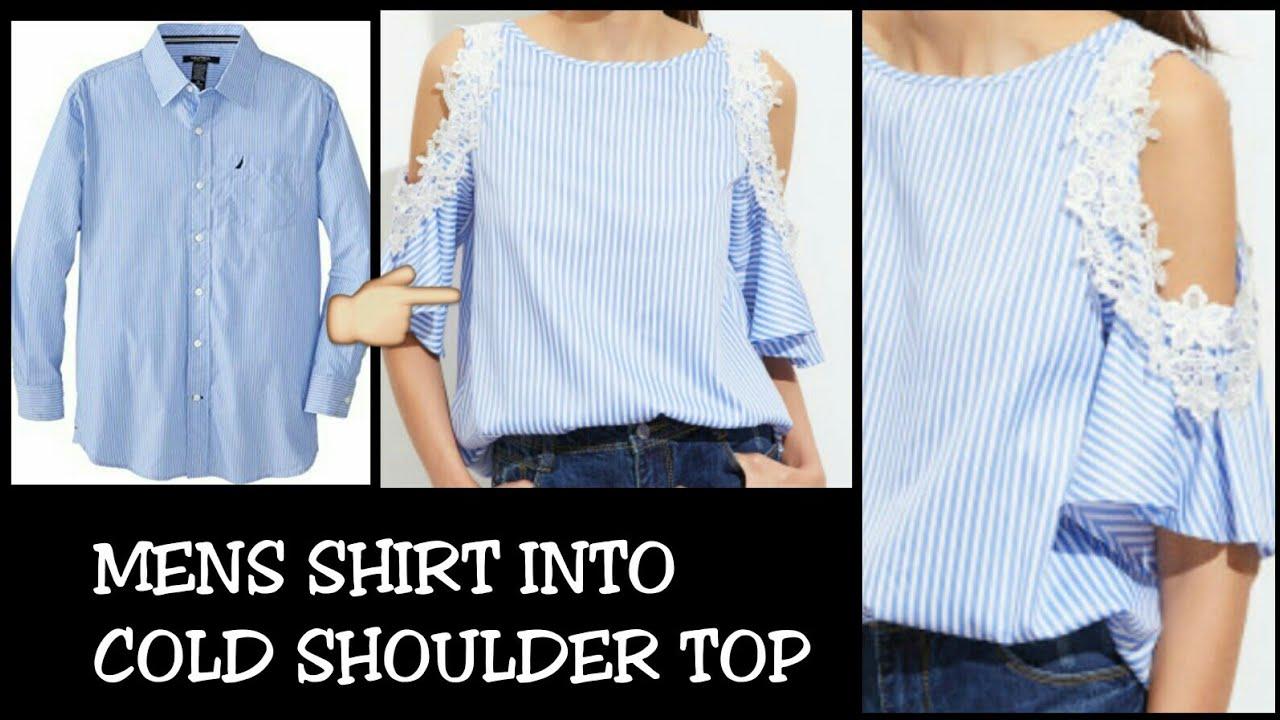 DIY Men s Shirt into Cold Shoulder Shirt Dress in 5 minutes 48ef42910