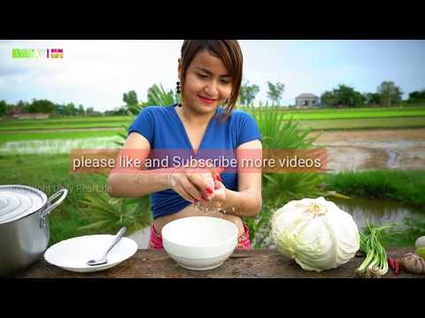 OOP !! Amazing Cooking Cabbage Mix Pork and Egg Recipe - Village Pretty Girl Made Farm Food 2017