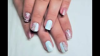 Delicate Nails with swirls, Lecente Glitter, Colour Changing Gel Polish and Swarovski  Crystals